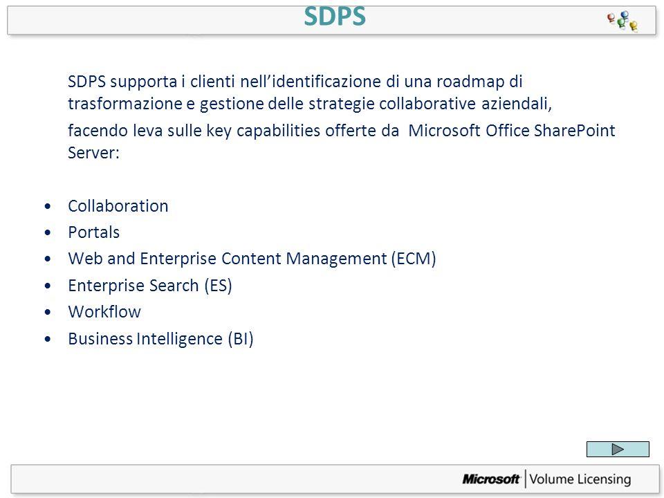 SDPS SDPS supporta i clienti nellidentificazione di una roadmap di trasformazione e gestione delle strategie collaborative aziendali, facendo leva sul