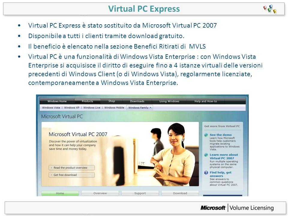 Virtual PC Express Virtual PC Express è stato sostituito da Microsoft Virtual PC 2007 Disponibile a tutti i clienti tramite download gratuito. Il bene