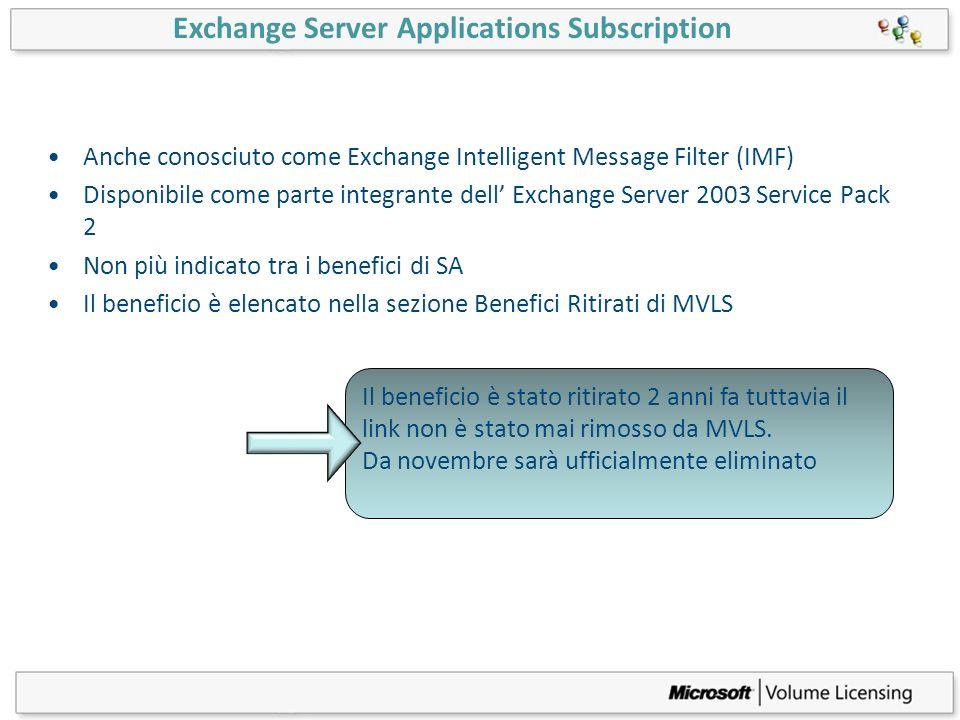 Exchange Server Applications Subscription Anche conosciuto come Exchange Intelligent Message Filter (IMF) Disponibile come parte integrante dell Excha