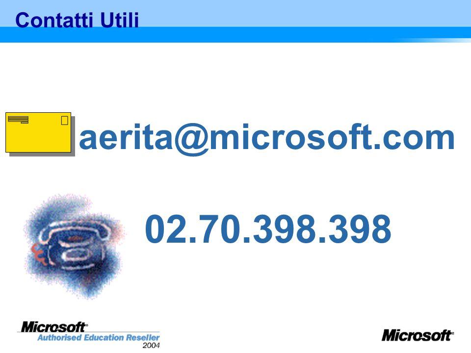 Contatti Utili aerita@microsoft.com 02.70.398.398