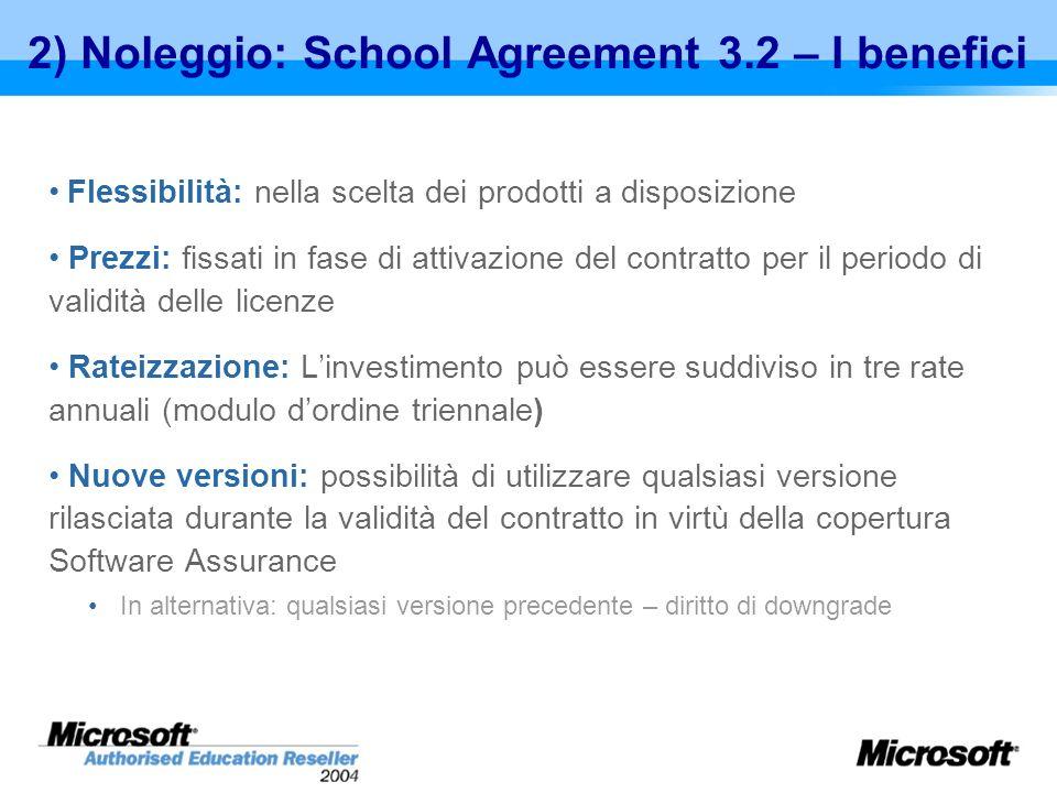 2) Noleggio: School Agreement 3.2 – I benefici Flessibilità: nella scelta dei prodotti a disposizione Prezzi: fissati in fase di attivazione del contr