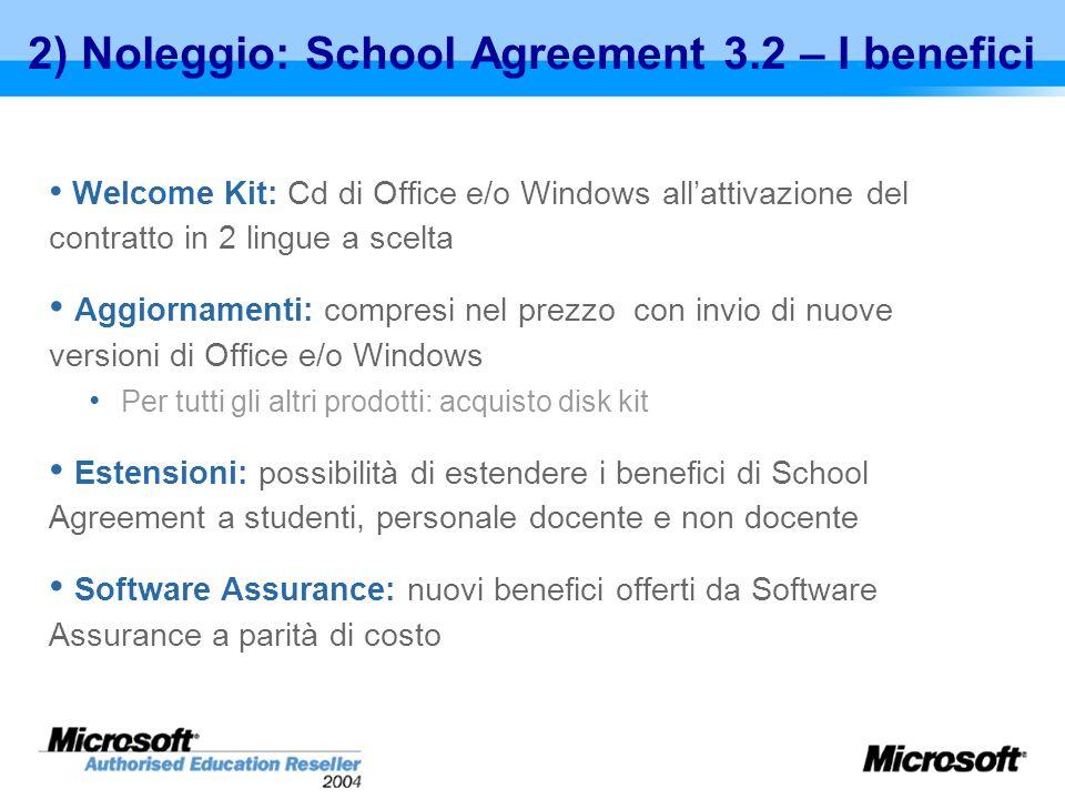 2) Noleggio: School Agreement 3.2 – I benefici Welcome Kit: Cd di Office e/o Windows allattivazione del contratto in 2 lingue a scelta Aggiornamenti: