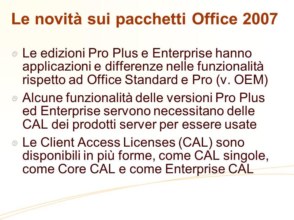 Le novità sui pacchetti Office 2007 Le edizioni Pro Plus e Enterprise hanno applicazioni e differenze nelle funzionalità rispetto ad Office Standard e Pro (v.