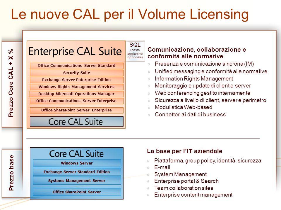 SQL (costo aggiuntivo opzionale) Le nuove CAL per il Volume Licensing Comunicazione, collaborazione e conformità alle normative Presenza e comunicazio
