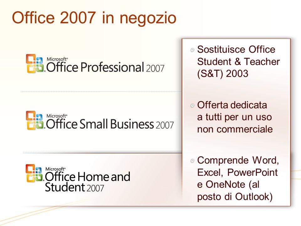 Office 2007 in negozio Sostituisce Office Student & Teacher (S&T) 2003 Offerta dedicata a tutti per un uso non commerciale Comprende Word, Excel, PowerPoint e OneNote (al posto di Outlook)