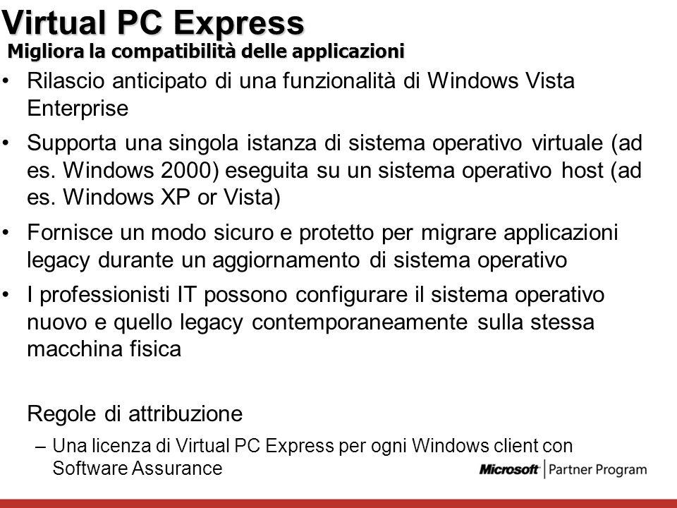 Virtual PC Express Rilascio anticipato di una funzionalità di Windows Vista Enterprise Supporta una singola istanza di sistema operativo virtuale (ad