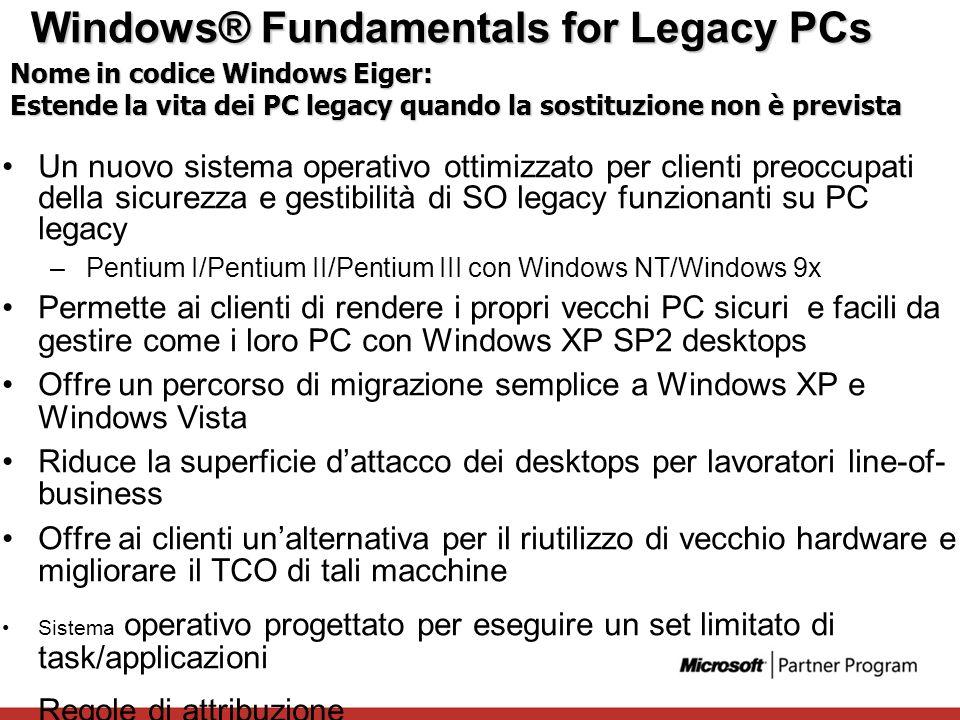 Windows® Fundamentals for Legacy PCs Un nuovo sistema operativo ottimizzato per clienti preoccupati della sicurezza e gestibilità di SO legacy funzion