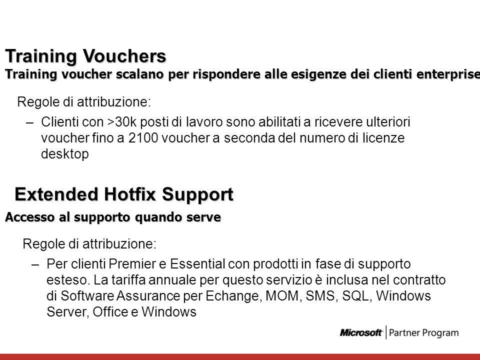 Training Vouchers Regole di attribuzione: –Clienti con >30k posti di lavoro sono abilitati a ricevere ulteriori voucher fino a 2100 voucher a seconda