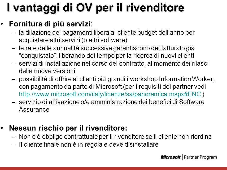 I vantaggi di OV per il rivenditore Fornitura di più servizi: –la dilazione dei pagamenti libera al cliente budget dellanno per acquistare altri servi