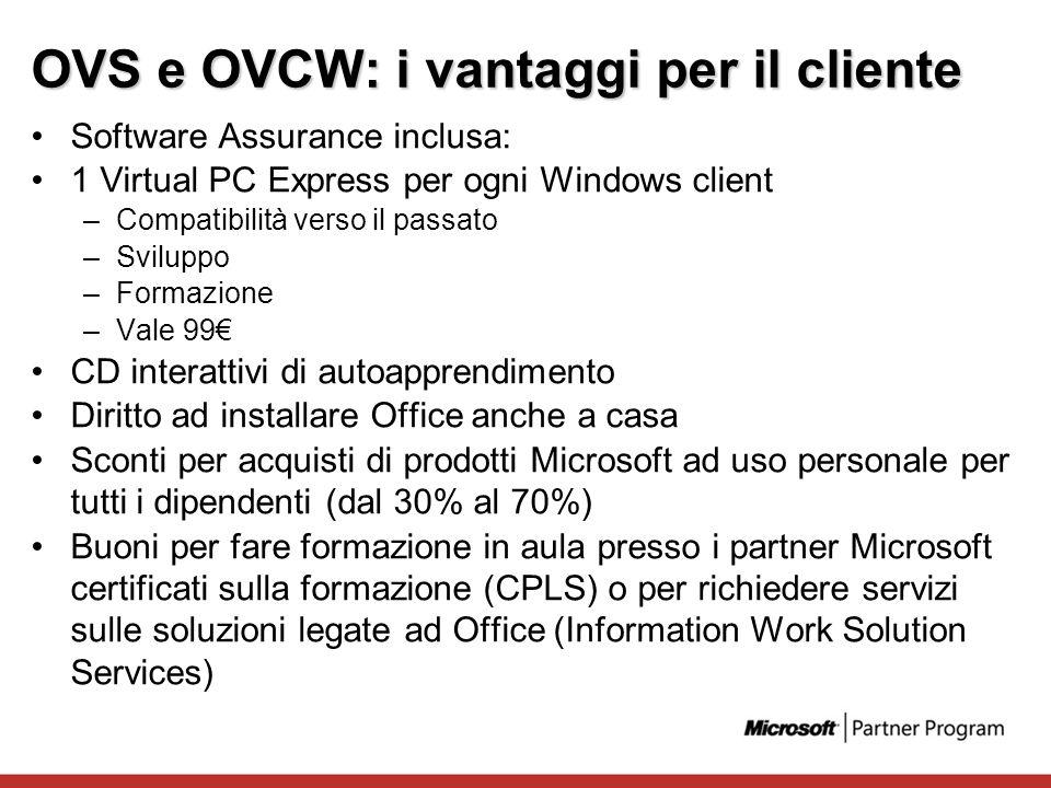 OVS e OVCW: i vantaggi per il cliente Software Assurance inclusa: 1 Virtual PC Express per ogni Windows client –Compatibilità verso il passato –Svilup