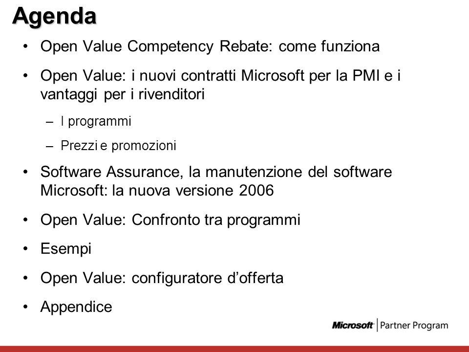 Agenda Open Value Competency Rebate: come funziona Open Value: i nuovi contratti Microsoft per la PMI e i vantaggi per i rivenditori –I programmi –Pre