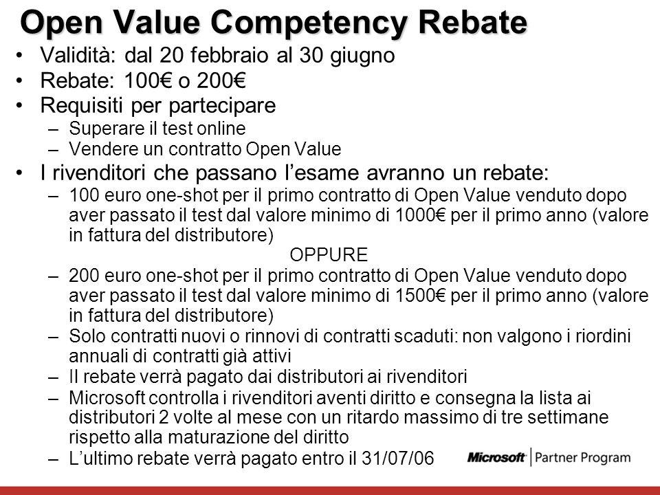 Open Value Competency Rebate Validità: dal 20 febbraio al 30 giugno Rebate: 100 o 200 Requisiti per partecipare –Superare il test online –Vendere un c