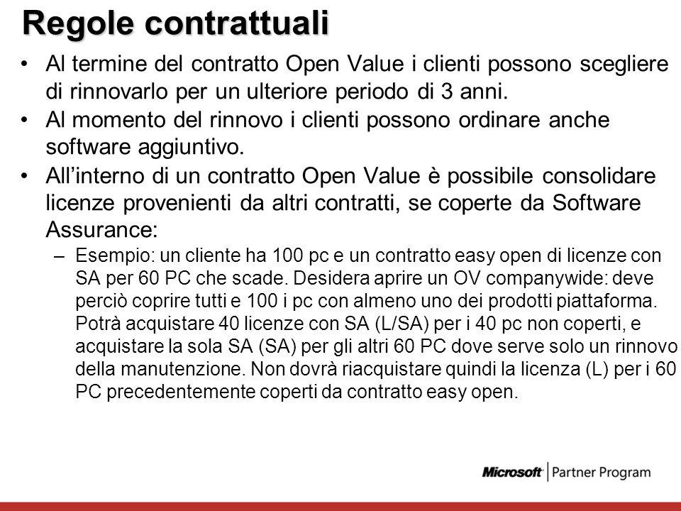 Regole contrattuali Al termine del contratto Open Value i clienti possono scegliere di rinnovarlo per un ulteriore periodo di 3 anni. Al momento del r