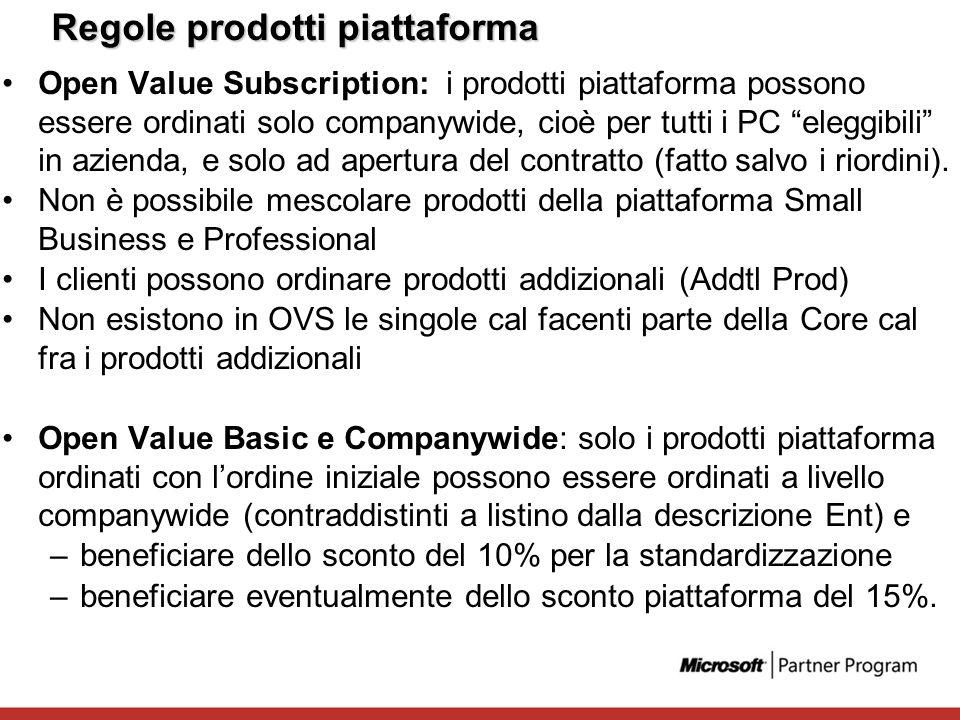 Regole prodotti piattaforma Open Value Subscription: i prodotti piattaforma possono essere ordinati solo companywide, cioè per tutti i PC eleggibili i