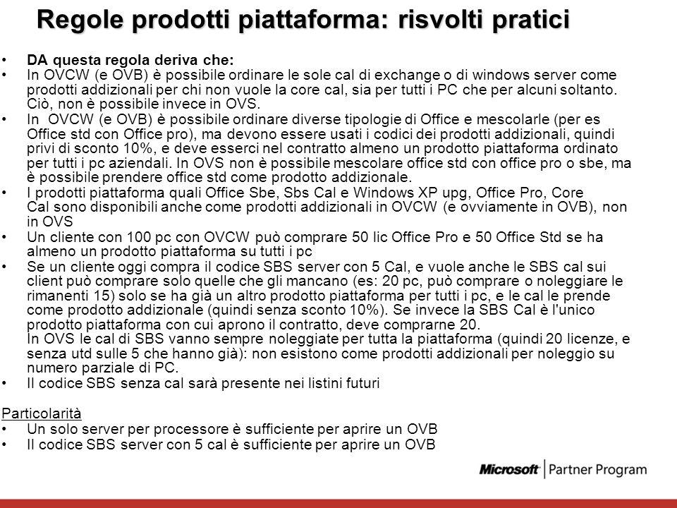 Regole prodotti piattaforma: risvolti pratici DA questa regola deriva che: In OVCW (e OVB) è possibile ordinare le sole cal di exchange o di windows s