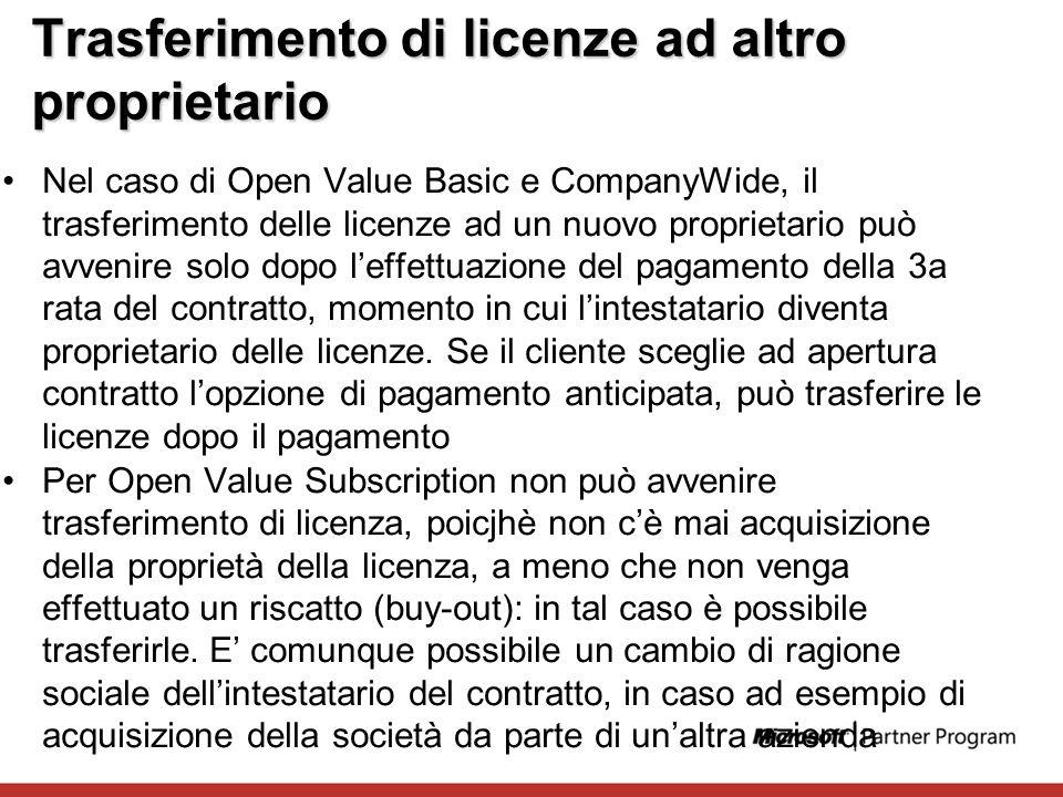 Trasferimento di licenze ad altro proprietario Nel caso di Open Value Basic e CompanyWide, il trasferimento delle licenze ad un nuovo proprietario può
