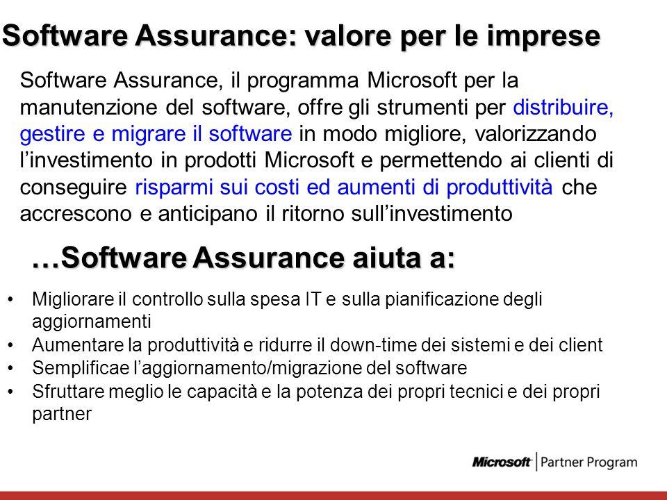 Software Assurance: valore per le imprese Software Assurance, il programma Microsoft per la manutenzione del software, offre gli strumenti per distrib