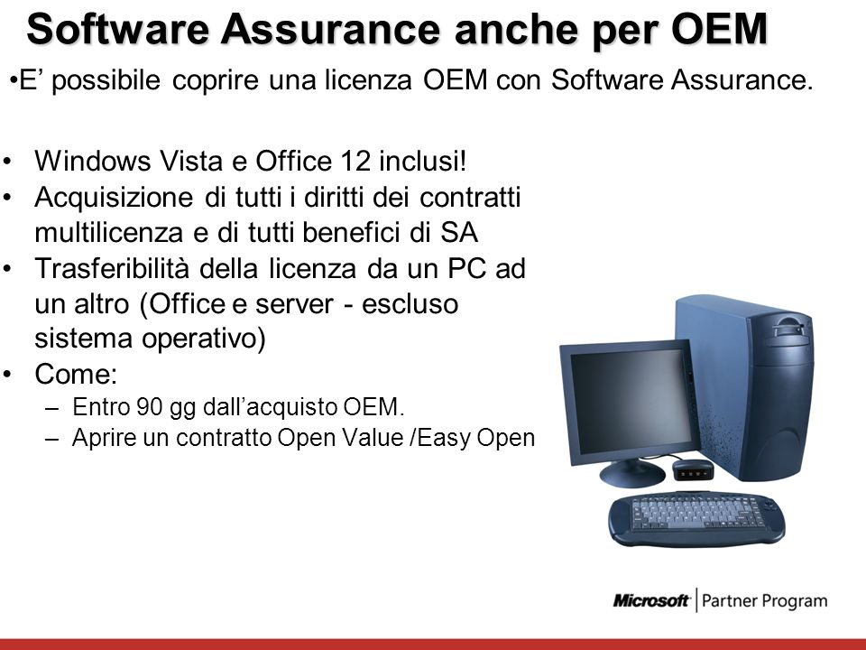 Software Assurance anche per OEM Windows Vista e Office 12 inclusi! Acquisizione di tutti i diritti dei contratti multilicenza e di tutti benefici di