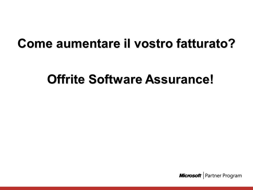 Come aumentare il vostro fatturato? Offrite Software Assurance!