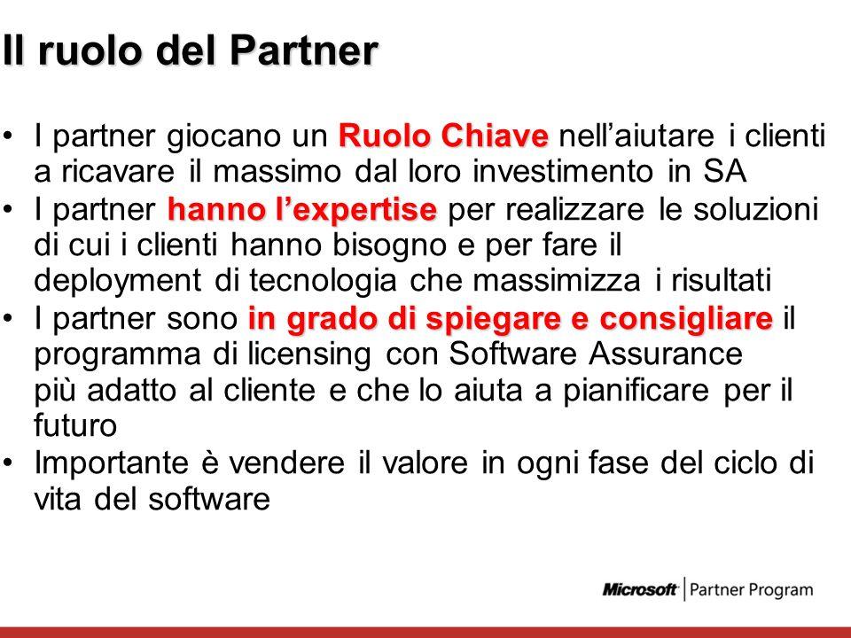 Il ruolo del Partner Ruolo ChiaveI partner giocano un Ruolo Chiave nellaiutare i clienti a ricavare il massimo dal loro investimento in SA hanno lexpe