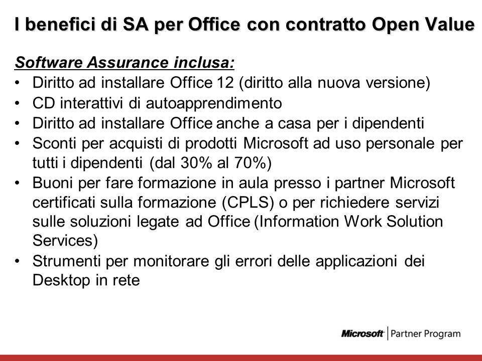 I benefici di SA per Office con contratto Open Value Software Assurance inclusa: Diritto ad installare Office 12 (diritto alla nuova versione) CD inte