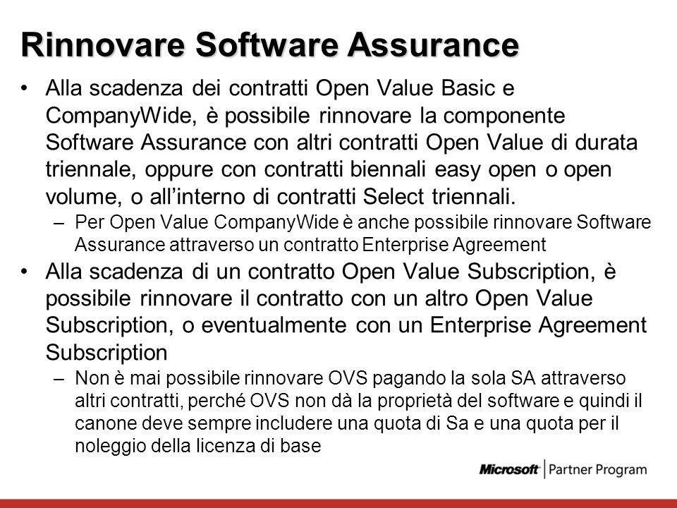 Rinnovare Software Assurance Alla scadenza dei contratti Open Value Basic e CompanyWide, è possibile rinnovare la componente Software Assurance con al