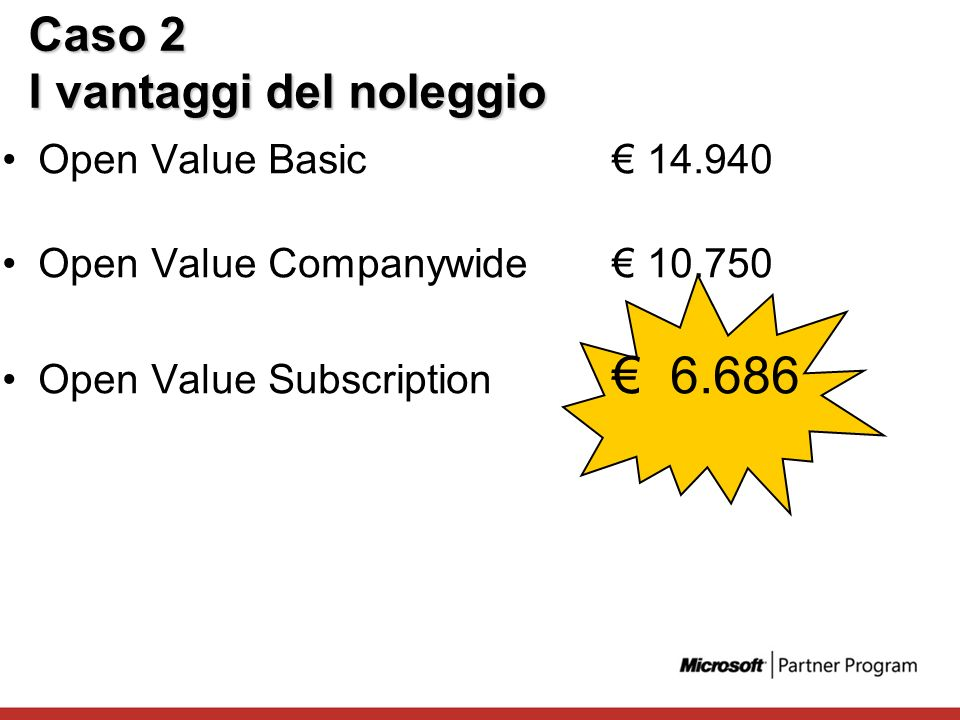Caso 2 I vantaggi del noleggio Open Value Basic 14.940 Open Value Companywide 10.750 Open Value Subscription 6.686