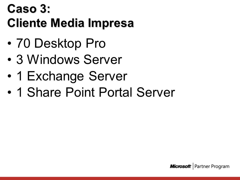 Caso 3: Cliente Media Impresa 70 Desktop Pro 3 Windows Server 1 Exchange Server 1 Share Point Portal Server
