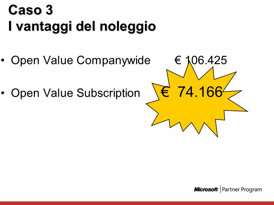 Caso 3 I vantaggi del noleggio Open Value Companywide 106.425 Open Value Subscription 74.166