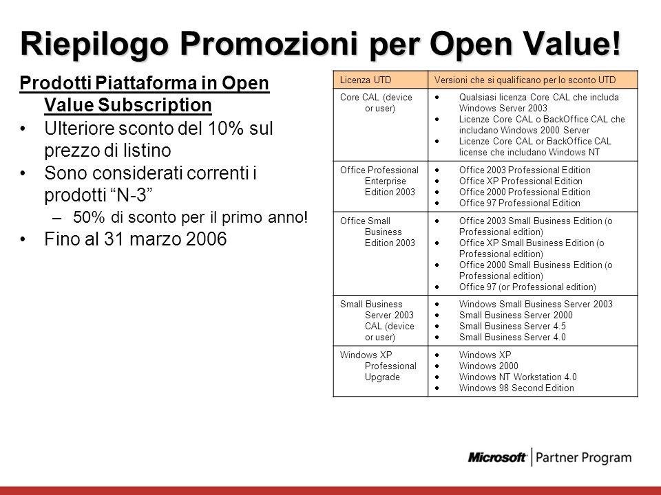 Riepilogo Promozioni per Open Value! Prodotti Piattaforma in Open Value Subscription Ulteriore sconto del 10% sul prezzo di listino Sono considerati c
