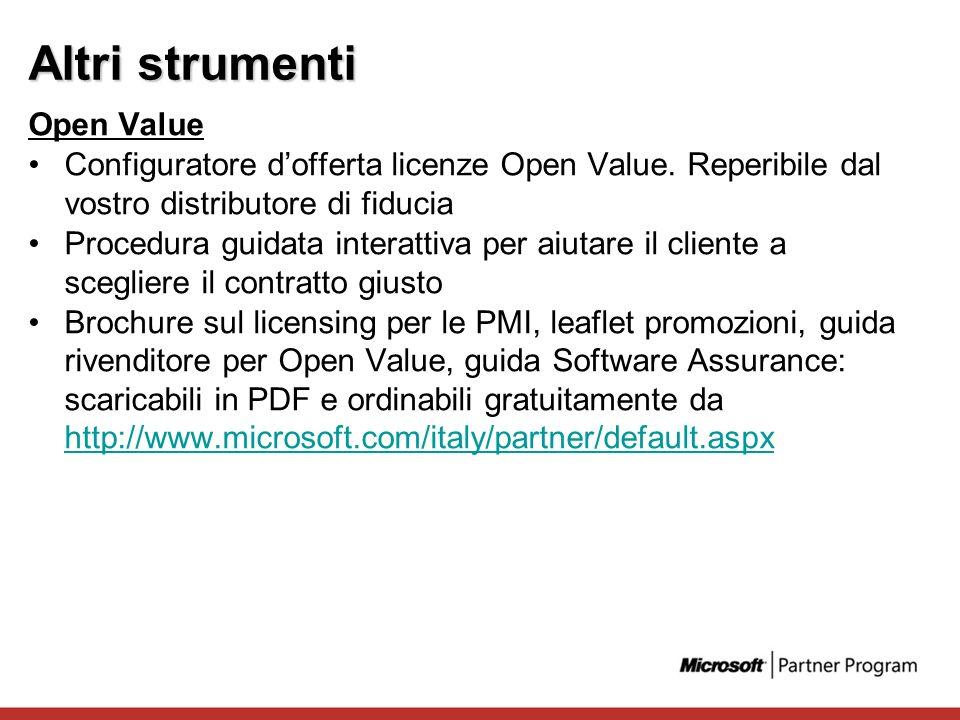 Altri strumenti Open Value Configuratore dofferta licenze Open Value. Reperibile dal vostro distributore di fiducia Procedura guidata interattiva per