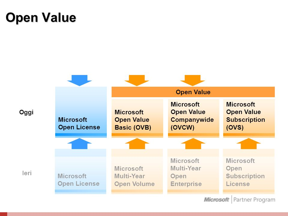 Open Value Microsoft Open License Microsoft Multi-Year Open Volume Microsoft Multi-Year Open Enterprise Microsoft Open Subscription License Ieri Micro