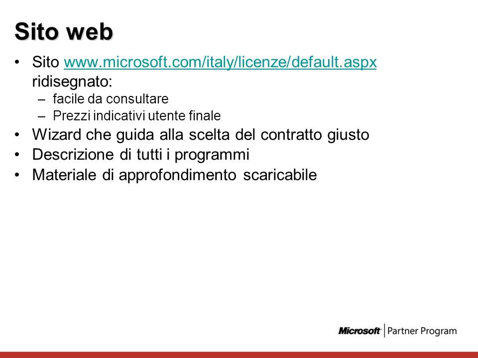 Sito web Sito www.microsoft.com/italy/licenze/default.aspx ridisegnato:www.microsoft.com/italy/licenze/default.aspx –facile da consultare –Prezzi indi