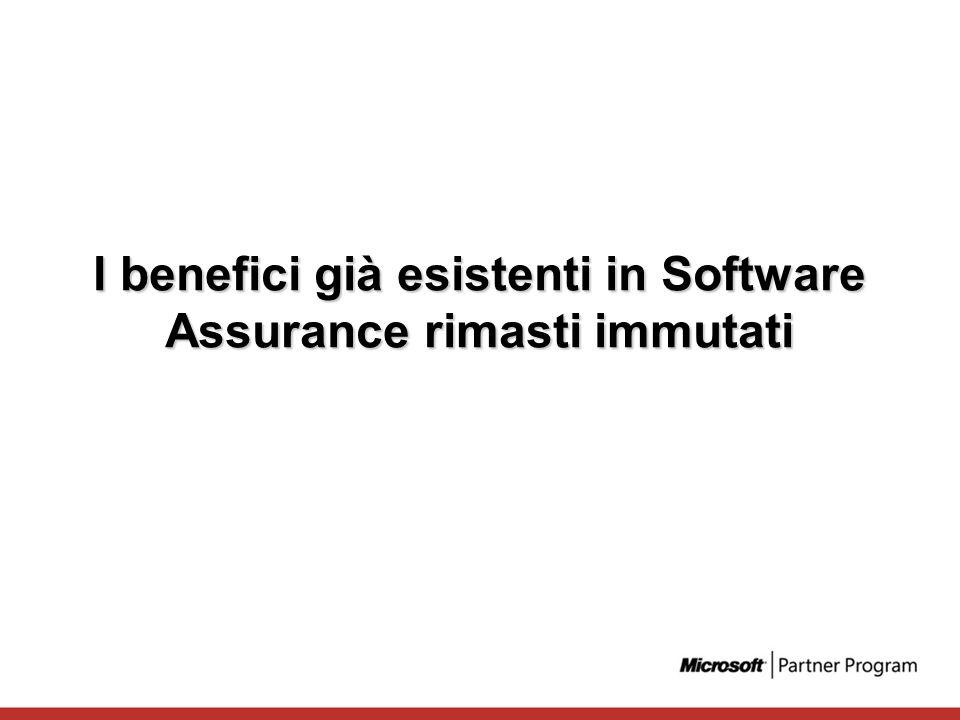 I benefici già esistenti in Software Assurance rimasti immutati