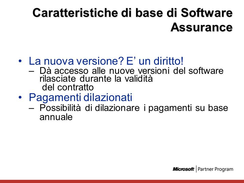 La nuova versione? E un diritto! –Dà accesso alle nuove versioni del software rilasciate durante la validità del contratto Pagamenti dilazionati –Poss