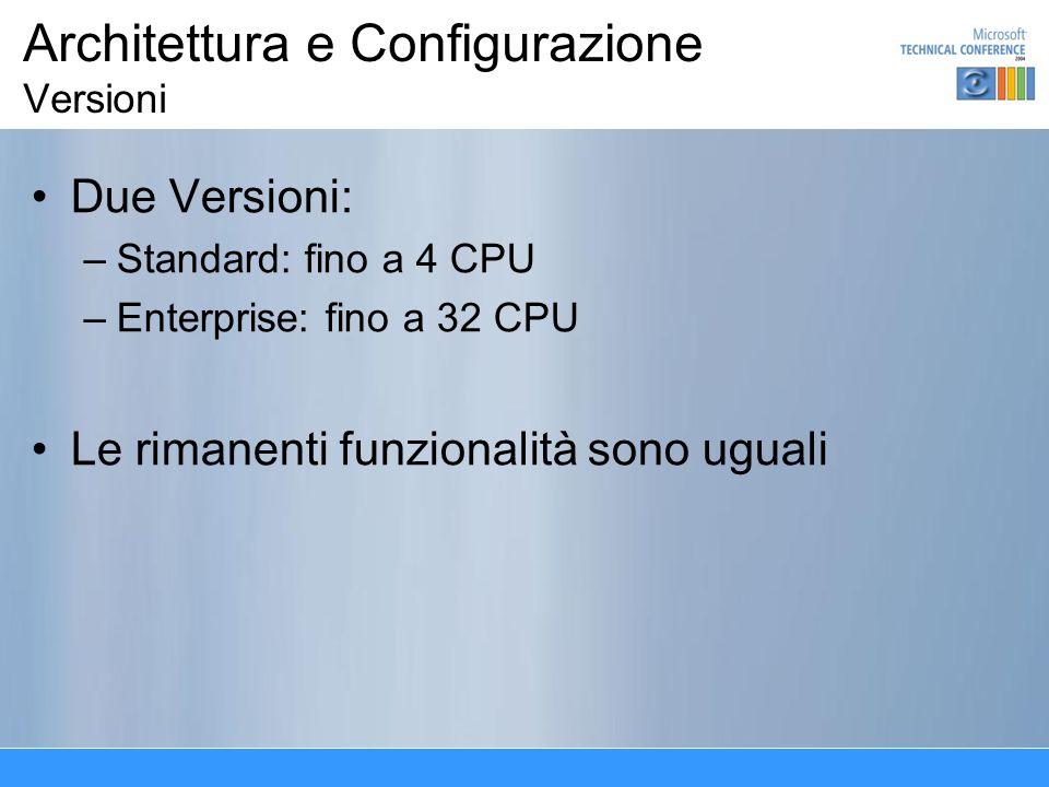 Architettura e Configurazione Versioni Due Versioni: –Standard: fino a 4 CPU –Enterprise: fino a 32 CPU Le rimanenti funzionalità sono uguali