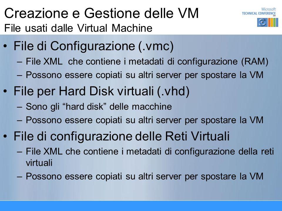 Creazione e Gestione delle VM File usati dalle Virtual Machine File di Configurazione (.vmc) –File XML che contiene i metadati di configurazione (RAM) –Possono essere copiati su altri server per spostare la VM File per Hard Disk virtuali (.vhd) –Sono gli hard disk delle macchine –Possono essere copiati su altri server per spostare la VM File di configurazione delle Reti Virtuali –File XML che contiene i metadati di configurazione della reti virtuali –Possono essere copiati su altri server per spostare la VM