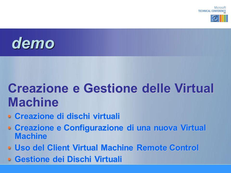 Creazione e Gestione delle Virtual Machine Creazione di dischi virtuali Creazione e Configurazione di una nuova Virtual Machine Uso del Client Virtual Machine Remote Control Gestione dei Dischi Virtuali demo demo