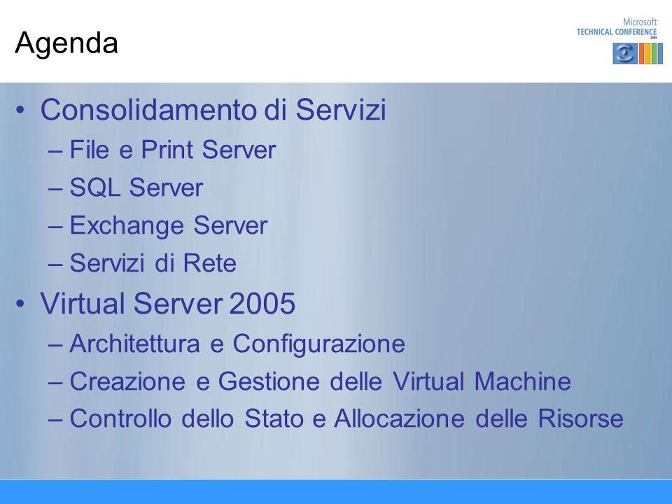 Agenda Consolidamento di Servizi –File e Print Server –SQL Server –Exchange Server –Servizi di Rete Virtual Server 2005 –Architettura e Configurazione –Creazione e Gestione delle Virtual Machine –Controllo dello Stato e Allocazione delle Risorse