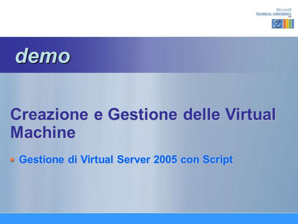 Creazione e Gestione delle Virtual Machine Gestione di Virtual Server 2005 con Script demo demo