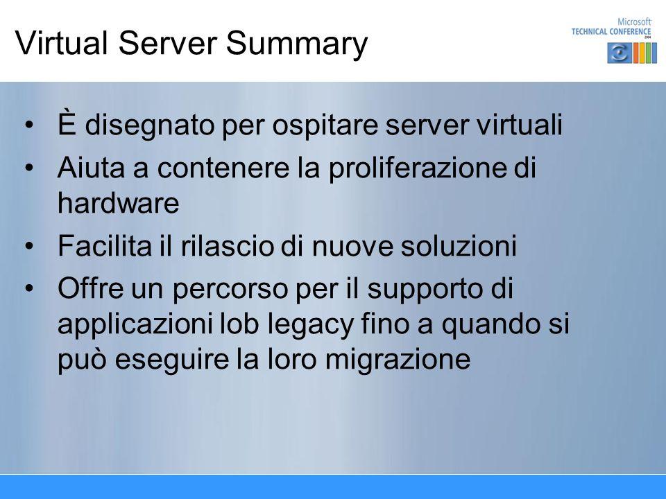 Virtual Server Summary È disegnato per ospitare server virtuali Aiuta a contenere la proliferazione di hardware Facilita il rilascio di nuove soluzioni Offre un percorso per il supporto di applicazioni lob legacy fino a quando si può eseguire la loro migrazione