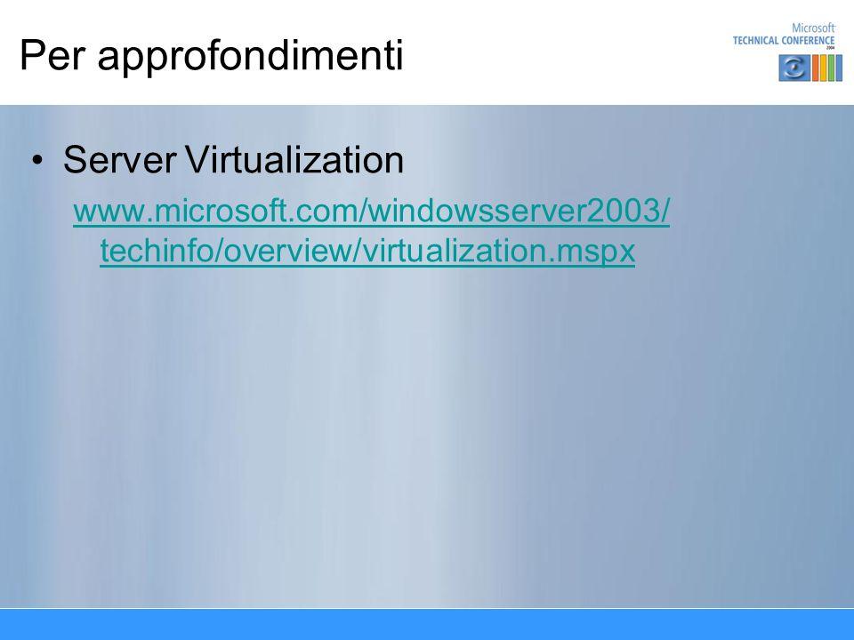 Per approfondimenti Server Virtualization www.microsoft.com/windowsserver2003/ techinfo/overview/virtualization.mspx