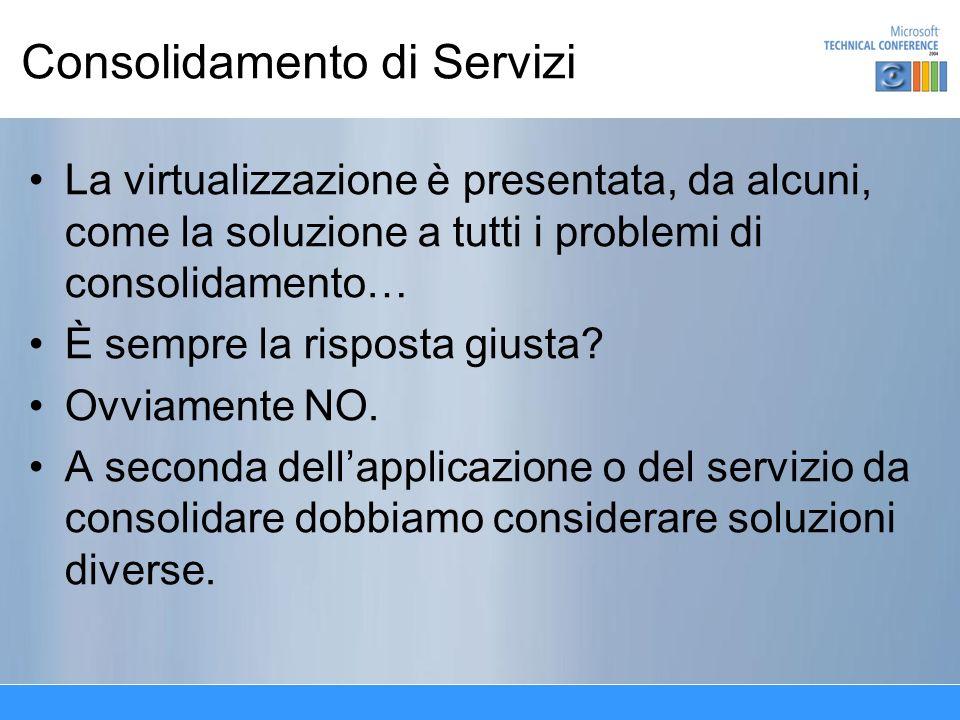 Consolidamento di Servizi La virtualizzazione è presentata, da alcuni, come la soluzione a tutti i problemi di consolidamento… È sempre la risposta giusta.