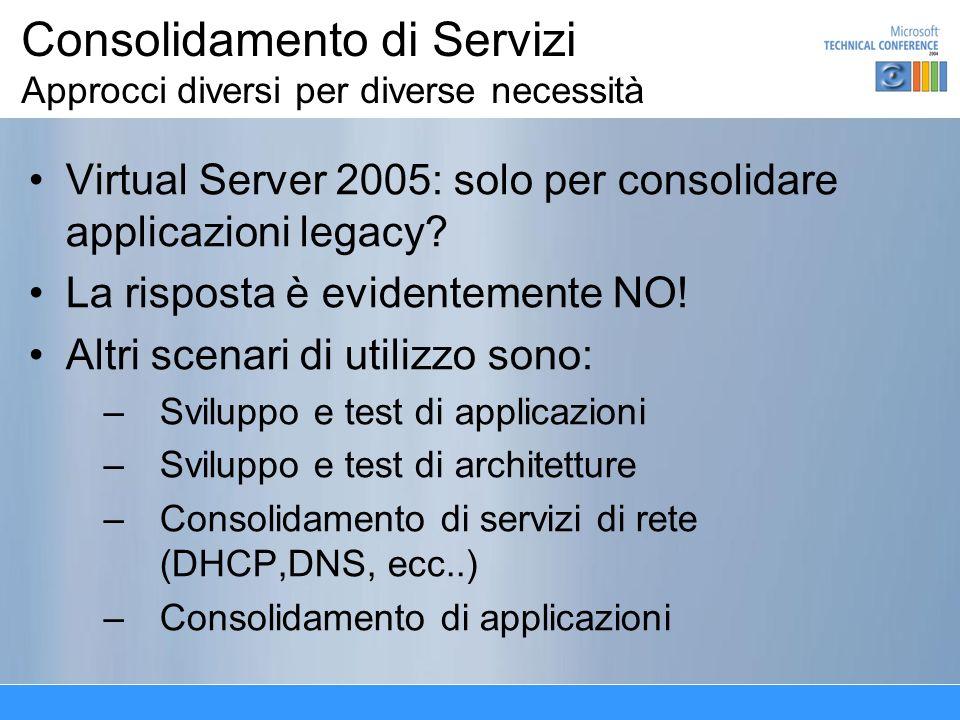 Consolidamento di Servizi Approcci diversi per diverse necessità Virtual Server 2005: solo per consolidare applicazioni legacy.