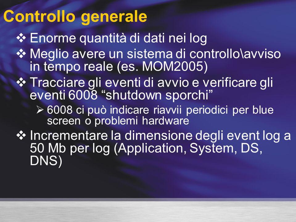 Controllo generale Enorme quantità di dati nei log Meglio avere un sistema di controllo\avviso in tempo reale (es.