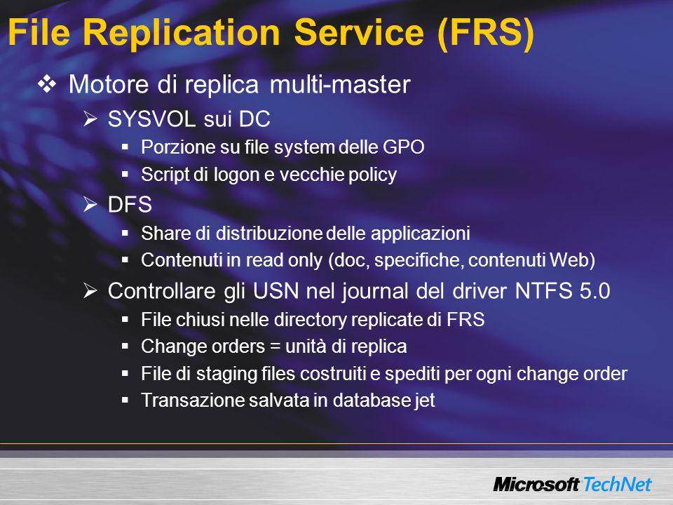 File Replication Service (FRS) Motore di replica multi-master SYSVOL sui DC Porzione su file system delle GPO Script di logon e vecchie policy DFS Share di distribuzione delle applicazioni Contenuti in read only (doc, specifiche, contenuti Web) Controllare gli USN nel journal del driver NTFS 5.0 File chiusi nelle directory replicate di FRS Change orders = unità di replica File di staging files costruiti e spediti per ogni change order Transazione salvata in database jet