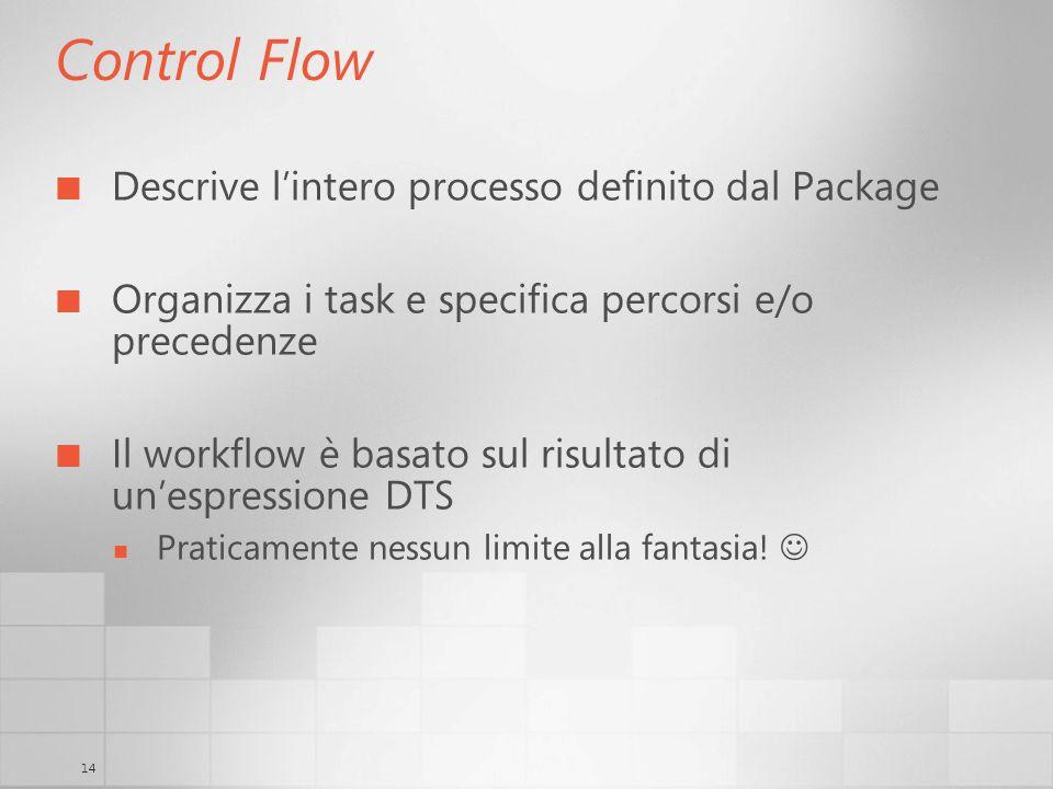 14 Control Flow Descrive lintero processo definito dal Package Organizza i task e specifica percorsi e/o precedenze Il workflow è basato sul risultato