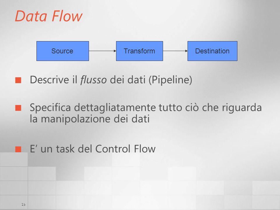 15 Data Flow Descrive il flusso dei dati (Pipeline) Specifica dettagliatamente tutto ciò che riguarda la manipolazione dei dati E un task del Control Flow SourceTransformDestination