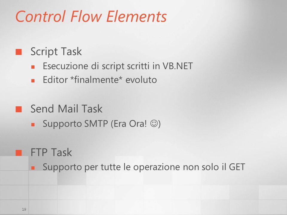 19 Control Flow Elements Script Task Esecuzione di script scritti in VB.NET Editor *finalmente* evoluto Send Mail Task Supporto SMTP (Era Ora! ) FTP T