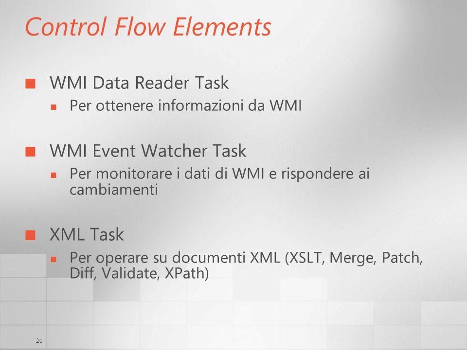 20 Control Flow Elements WMI Data Reader Task Per ottenere informazioni da WMI WMI Event Watcher Task Per monitorare i dati di WMI e rispondere ai cambiamenti XML Task Per operare su documenti XML (XSLT, Merge, Patch, Diff, Validate, XPath)